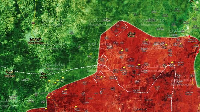Những ngôi làng quân đội Syria giải phóng ngày 30.12.2017 - ảnh Muraselon