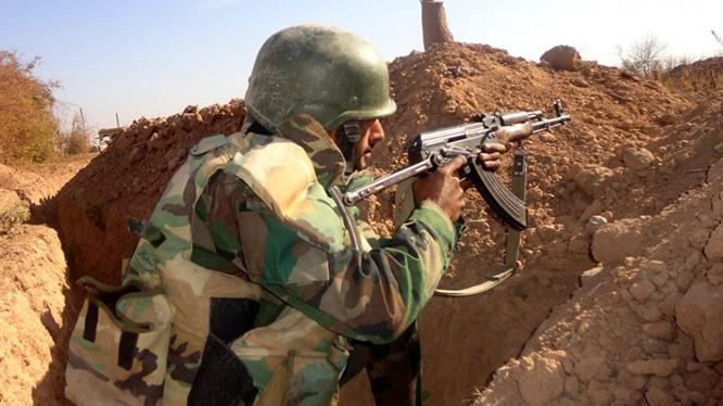 Binh sĩ Syria trên chiến trường Đông Ghouta - ảnh Masdar News