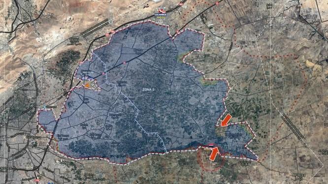 Chiến trường Đông Ghouta tính đến ngày 31.12.2017 theo South Front