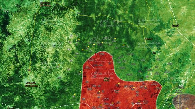 Các mũi tiến công của quân đội Syria trên chiến trường Idlib - ảnh Muraselon