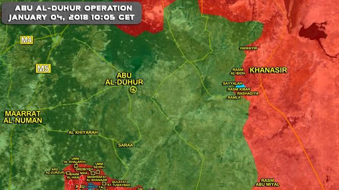 Bản đồ chiến sự tỉnh Idlib ngày 04.01.2017 tính đến 10:05 ngày 04.01.2017 - ảnh Muraselon