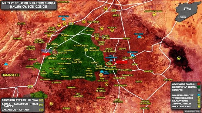 Các mũi tiến công của quân đội Syria ngày 04.01.2018 - ảnh South Front