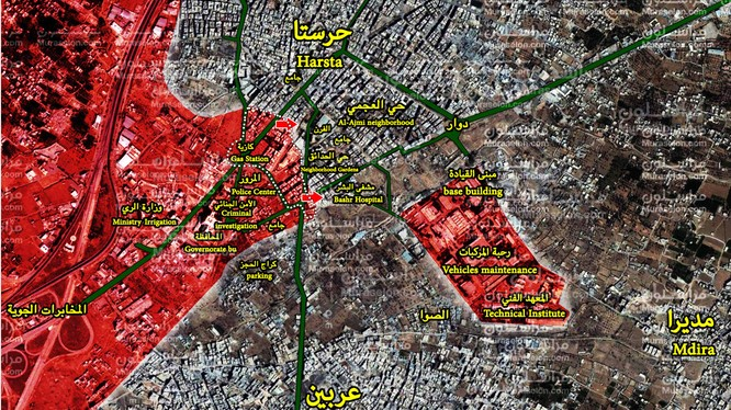 Bản đồ tình hình chiến sự Harasta, Đông Ghouta - ảnh Muraselon