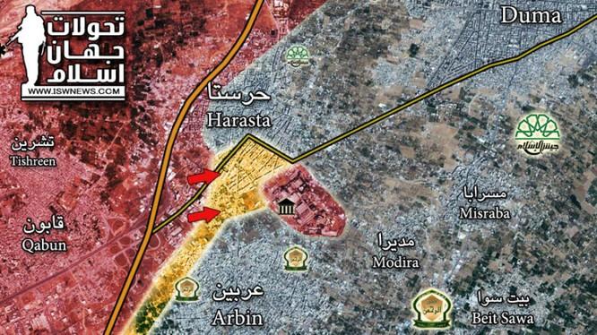 Bản đồ tình hình chiến sự Đông Ghouta - ảnh Masdar News