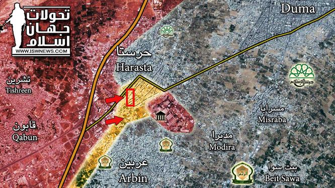 Bản đồ chiến sự khu vực căn cứ thiết giáp ở quận Harasta - Đông Ghouta