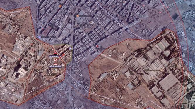 Vùng chiến quanh căn cứ Thiết giáp quận Harasta, đông Ghouta - ảnh Masdar News