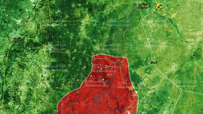 Quân đội Syria tiến chiếm thị trấn Sinjar, cách sân bay Abu al-Duhur 15 km - ảnh Muraselon