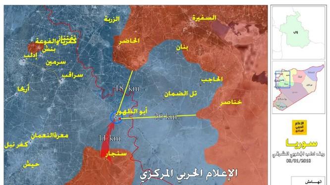 Các hướng tấn công chính của quân đội Syria trên chiến trường đông nam tỉnh Idlib - ảnh truyền thông Hezbollah