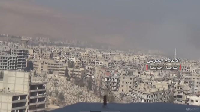 Khu vực chiến trường quận Harasta. Đông Ghouta - ảnh truyền thông Hezbollah