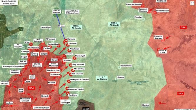Các mũi tiến công của quân đội Syria trên chiến trường tỉnh Idlib - ảnh South Front