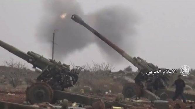 Pháo binh lực lượng Tiger bắn phá chiến tuyến của phiến quân thánh chiến ở Idlib - ảnh minh họa Masdar News