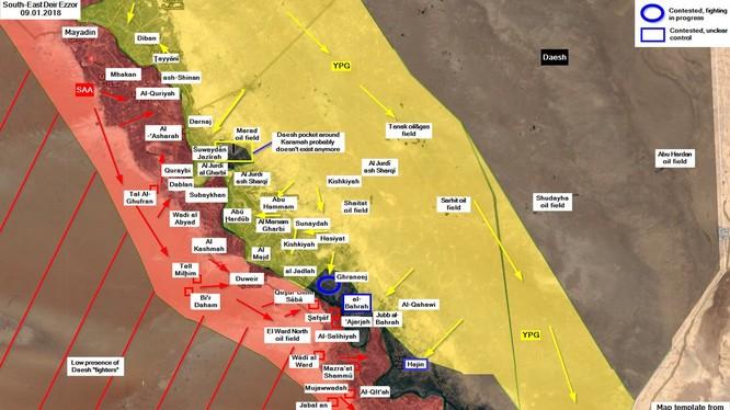 Lực lượng SDF tiến công vào thị trấn Gharanij trên vùng nông thôn Deir Ezzor - bản đồ South Front