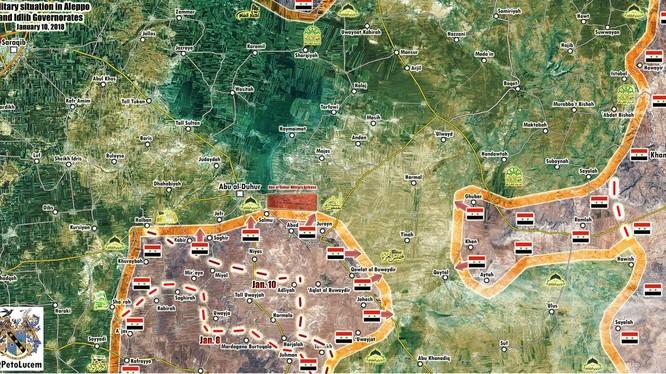 Bản đồ tình hình chiến sự khu vực sân bay Abu Al-Duhur và phía tây nam thành phố Aleppo - ảnh Muraselon
