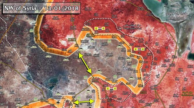Bản đồ tình hình chiến sự vùng Aleppo - Idlib - ảnh Masdar News