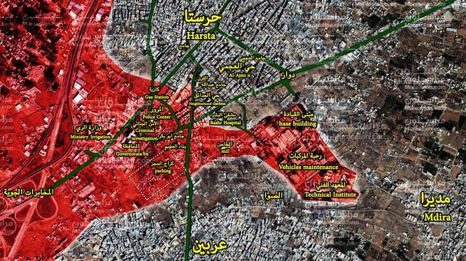Bản đồ tình hình chiến sự khu vực Harasta, Đông Ghouta - ảnh Muraselon