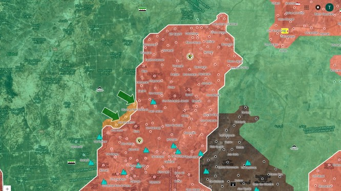 Các mũi tiến công của lực lượng Hồi giáo cực đoan và khu vực bị chiếm - ảnh South Front