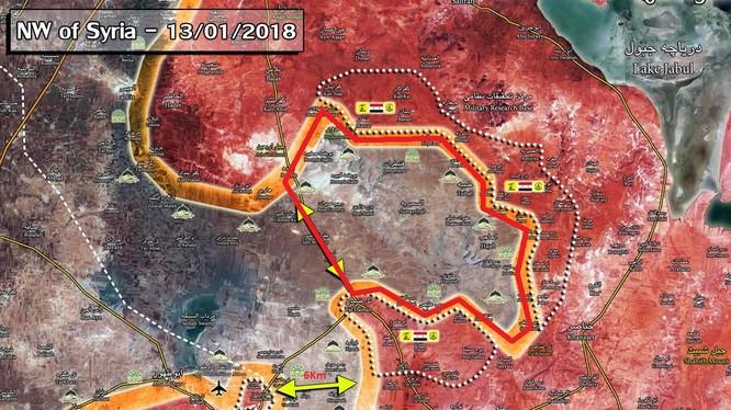 Khu vực nông thôn Aleppo (màu đỏ) chuẩn bị được giải phóng - ảnh Muraselon