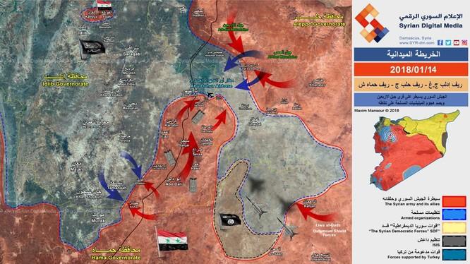 Chiến tuyến khu vực Hama, Aleppo, Idlib tính đến ngày 14.01.2018, quân tình nguyện Syria tiến công IS - ảnh truyền thông Syrian Digital Media