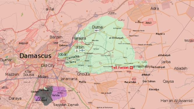 Quân đội Syria chiếm cao điểm Tell Farzat trong khu vực Đông Ghouta - ảnh South Front