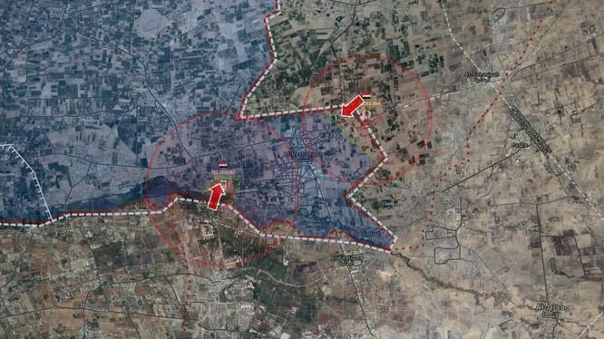 Hai mũi tiến công của sư đoàn cơ giới số 4 đánh vào Đông Ghouta - ảnh Masdar News