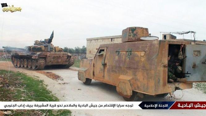 Xe tăng và xe cơ giới bọc thép của phiến quân tràn về phía nam tỉnh Idlib, quyết tử chiến với quân đội Syria - ảnh minh họa Masdar News