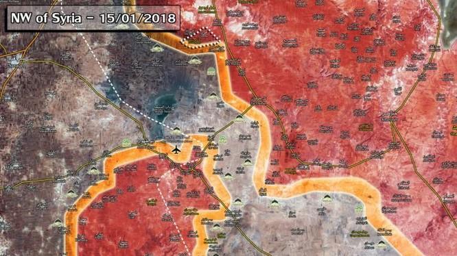 Tình hình chiến trường Aleppo, Idlib, Hama tính đến ngày 15.01.2018 theo South Front - ảnh Muraselon