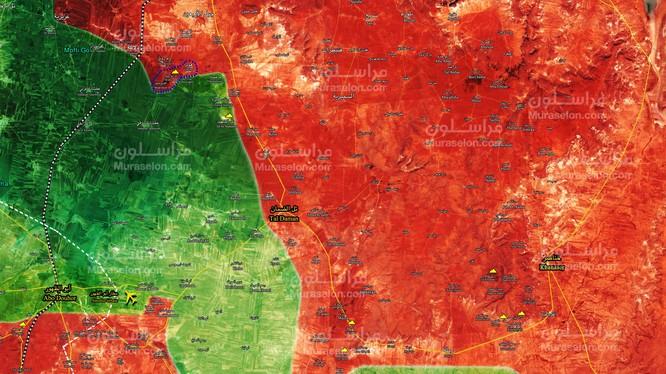 Tình hình chiến sự khu vực phía tây nam tỉnh Aleppo gần căn cứ sân bay Abu Duhur - ảnh Muraselon