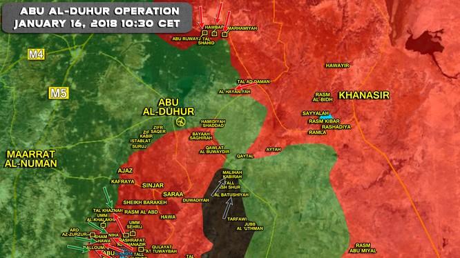 Các mũi tiến công của quân đội Syria trên khu vực chiến trường phía nam tỉnh Idlib và giáp ranh phía bắc Hama - ảnh South Front