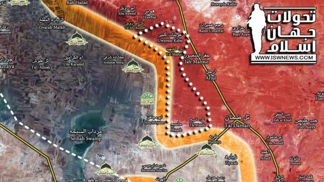 Quân đội Syria giải phóng thêm một làng - bản đồ Masdar News