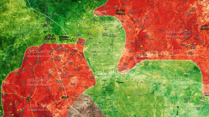 Chiến tuyến chiến trường Idlib - Aleppo tính đến ngày 19.01.2018 theo Muraselon