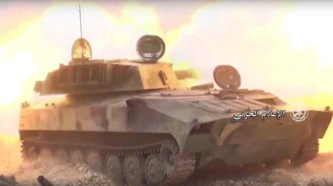 Pháo tự hành quân đội Syria bắn phá mục tiêu khủng bố Al-Qaeda Syria - ảnh minh họa Masdar News