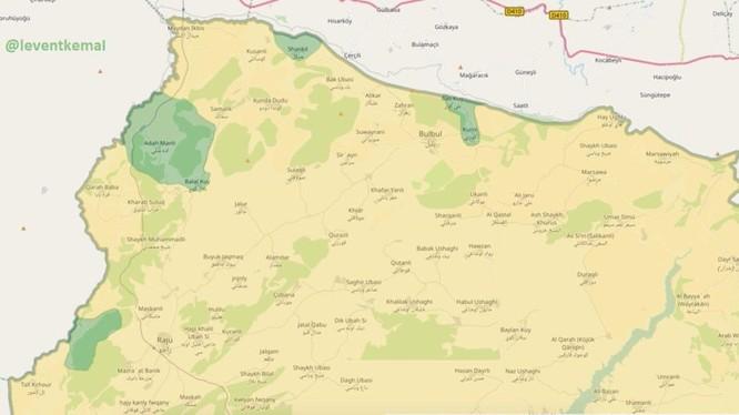 Chiến tuyến khi vực Afrin, các đơn vị quân đội Thổ Nhĩ Kỳ tiến vào khu vực người Kurd (màu xanh lá cây) - ảnh South Front