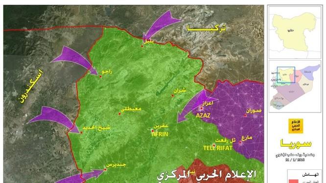Các mũi tiến công của Thổ Nhĩ Kỳ vào Afrin - ảnh Hezbollah