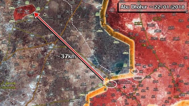 Chiến trường khu vực tỉnh Idlib - Aleppo, cách các thị trấn bị bao vây 37 km. Ảnh Masdar News