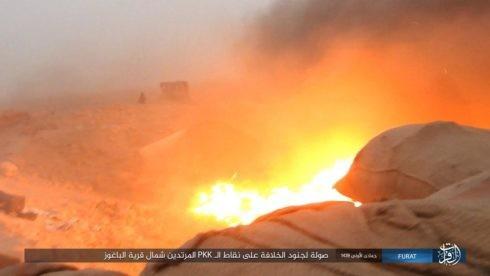 Một vụ đánh bom VBIED của IS vào chiến tuyến của lực lượng SDF - ảnh Masdar News