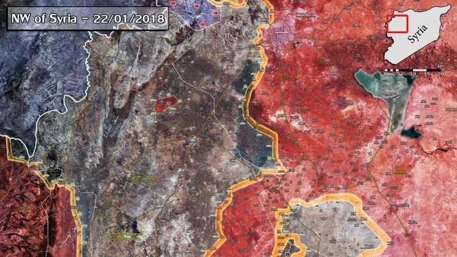 Tình hình chiến sự vùng nông thôn tỉnh Idlib tính đến ngày 22.01.2018 theo South Front