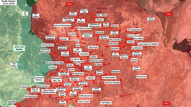 Các mũi tiến công ngày 23.01.2018 trên chiến trường idlib - ảnh Masdar News