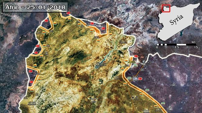 Các mũi tiến công của lực lượng vũ trang Thổ Nhĩ Kỳ và TFSA trên chiến trường Afrin, Aleppo - ảnh South Front