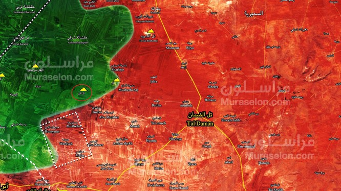 Những khu dân cư quân đội Syria giải phóng ngày 27.01.2018 - ảnh Muraselon