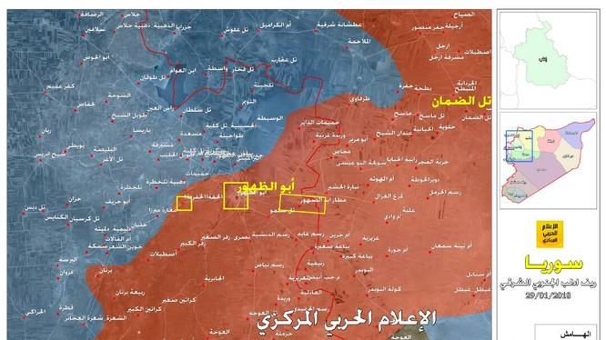 Quân đội Syria giải phóng liên tiếp thị trấn Abu Al-Duhur và 3 ngôi làng. Ảnh truyền thông Hezbollah