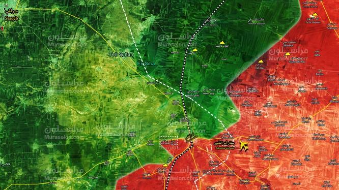 Quân đội Syria giành được quyền kiểm soát cao điểm Tal Azo, phía tây bắc thị trấn Abu Al-Duhur. Ảnh Muraselon