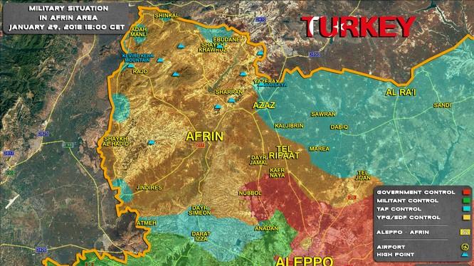 Tình hình chiến sự khu vực Afrin, vùng xanh là khu vực đã bị lực lượng Hồi giáo cực đoan FSA tấn chiếm - ảnh Soth Front