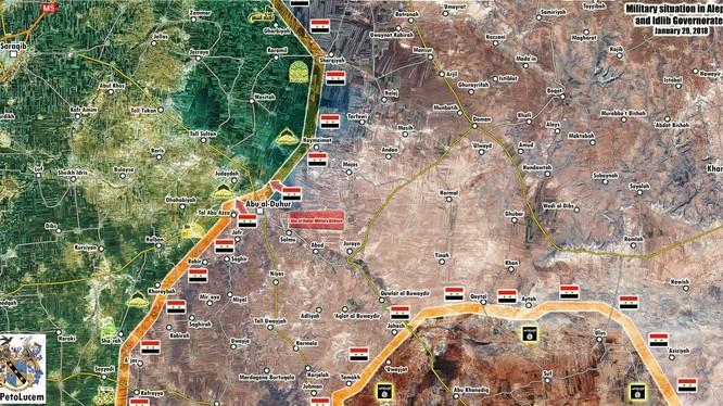 Các mũi tiến công của quân đội Syria trong khu vực Idlib - ảnh minh họa từ video SANA
