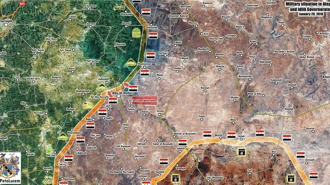 Hướng tấn công của lực lượng Tiger sau khi giải phóng thị trấn Abu Al-Duhur - ảnh Masdar News