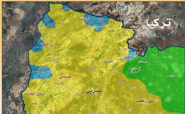 Bản đồ vùng chiến sự Afrin, khu vực xanh là những địa bàn bị quân đội Thổ Nhĩ Kỳ tấn chiếm - ảnh minh họa South Front