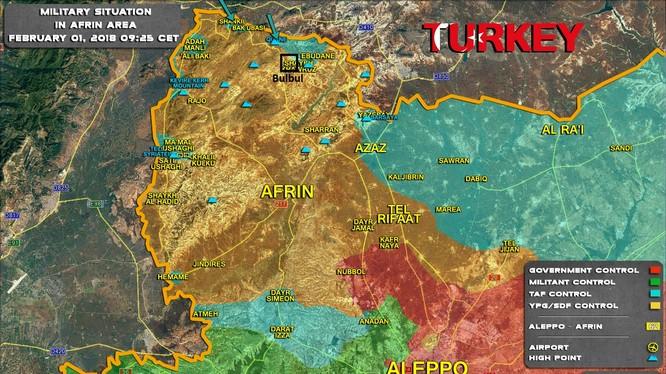 Chiến trường Afrin tính đến ngày 01.02.2018 theo South Front