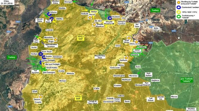 Chiến trường Afrin, quân đội Thổ Nhĩ Kỳ tấn công lực lượng dân quân người Kurd. Ảnh minh họa South Front