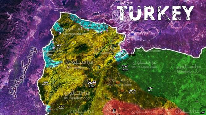 Tình hình chiến sự khu vực Afrin, Aleppo tính đến ngày 01.02.2018 theo Muraselon