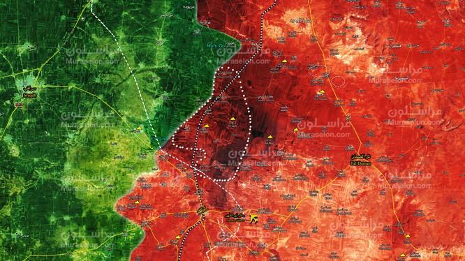Bản đồ tình hình chiến sự Syria tính đến ngày 01.02.2018 theo Muraselon