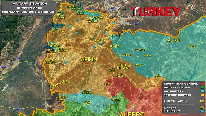 Chiến trường khu vực Afrin tính đên ngày 02.02.2018 theo South Front